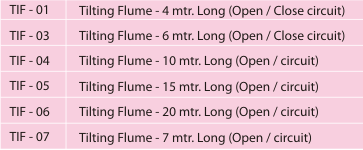 Tilting Flume Specification Table